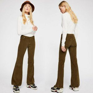 Free People Vintage Cord Flare Pants Olive Size 24